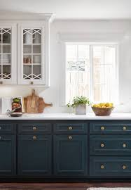 blue bottom and white top kitchen cabinets darker colors on bottom will work if you keep everything