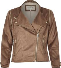 river island brown faux suede biker jacket in brown lyst