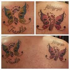 butterfly tattoo with baby footprint baby footprint butterfly tattoo sunflower pinterest baby