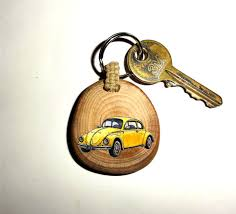 unique key ring vw beetle keychain car keyring key ring wood slice by nayasart