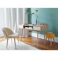 bureau maisons du monde bureau vintage 2 tiroirs chaise vintage fausse fourrure et fourrures
