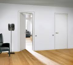 flush baseboard interior door from white lacquer finish and matching door levers