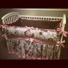 Pink And Brown Damask Crib Bedding Silk Chocolate Polka Dot Baby Bedding By Bellabeddingcouture