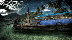 boats clouds fields hdr photography islands landscapes palm trees