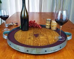 custom personalized engraved wine barrel head lazy susan
