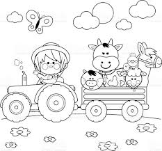 farmer boy driving a tractor and carrying farm animals black and