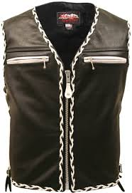 leather motorcycle coats the elite black motorcycle leather vest white black braiding