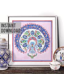 printable art traditional turkish blue tulip watercolor