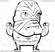 cartoon clipart of a black and white lucha libre luchador wrestler