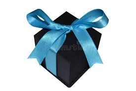 black and blue ribbon black gift box with blue ribbon on white background stock image