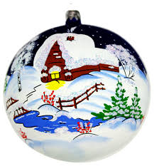 russian winter glass hand painted christmas ball ornament