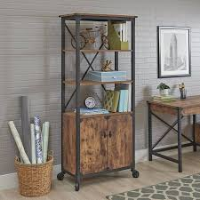 Pine Bookcase With Doors Better Homes And Gardens Rustic Country Library With 2 Doors