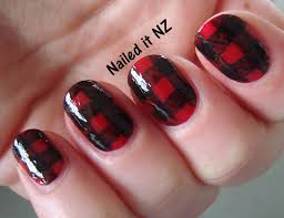 nailed it nz red and black gingham nails