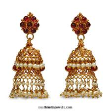 gold jhumka earrings design 22k gold jhumka earrings from bhima jewels south india jewels