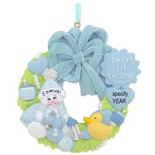 personalized blue baby u0027s first christmas wreath with glitter