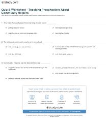 quiz u0026 worksheet teaching preschoolers about community helpers