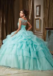 aqua quinceanera dresses organza quinceañera dress with billowy skirt beaded illusion bateau