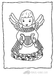 angel christmas coloring page angel with harp picture 5 a little