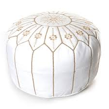 Ottoman Morocco Moroccan Flower Leather Pouf White Embroidered Ottoman