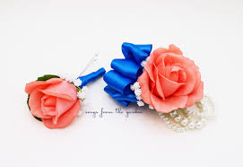 royal blue corsage coral and royal blue real touch wedding boutonniere wedding