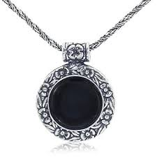 antique necklace silver images Antique style black onyx pendant round floral design jpg