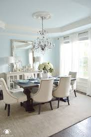 Dining Room Crystal Chandelier by Dining Room Update Blue Dining Rooms Trestle Tables And