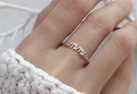 name ring dainty name ring stackable name ring custom name ring