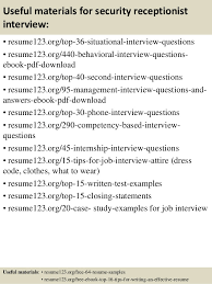 Samples Of Receptionist Resumes by Top 8 Security Receptionist Resume Samples