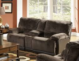 escalade reclining console loveseat in chocolate walnut two tone