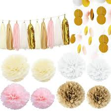Pink And Gold Baby Shower Decorations by Amazon Com Kubert Party 36 Pcs Pink White Ivory Gold Tissue Paper
