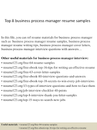 resume objectives for business top8businessprocessmanagerresumesamples 150410092716 conversion gate01 thumbnail 4 jpg cb 1428676080
