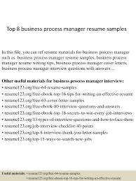 business resume examples top8businessprocessmanagerresumesamples 150410092716 conversion gate01 thumbnail 4 jpg cb 1428676080
