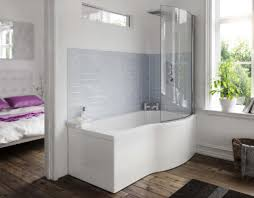 comfortable curved glass shower on bathroom with high end curved