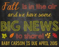 Announcing Pregnancy At Thanksgiving Thanksgiving Pregnancy Announcement Chalkboard Poster Printable