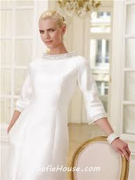 modest wedding dresses with 3 4 sleeves informal high neck 3 4 sleeve satin beaded modest