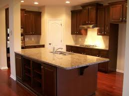 witching l shape brown color maple kitchen cabinets features