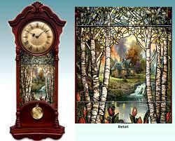 kinkade illuminated stained glass two high wall clock