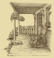 Comfortable Rocking Chairs Ink Drawing Comfortable Rocking Chairs On The Veranda U2014 Stock
