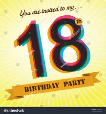 18th birthday party invite template design stock vector 184105511