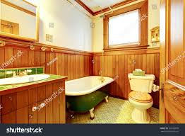 wood bathroom interior iron cast bathtub stock photo 163102079