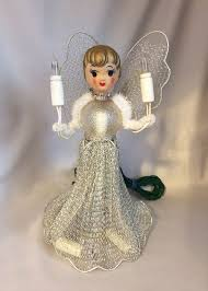 lighted tree topper vintage angel tree topper christmas ornament silver mesh lighted