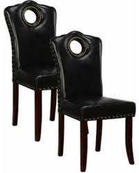 Parsons Upholstered Dining Chairs Spectacular Deal On Espresso Upholstered Faux Leather Nailhead