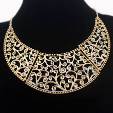 collar bib necklace images Aztec antique gold filigree swirl scroll paisley crescent moon jpg