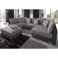 canapé d angle noir et gris canapé d angles fixes convertible pouf en tissu et microfibre
