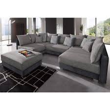 canapé d angle de luxe canapé d angles fixes convertible pouf en tissu et microfibre