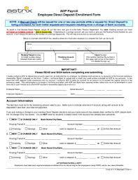 employee direct deposit enrollment form template expin