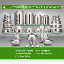 Kitchen Canisters Online by Buy 43 Pcs Stainless Steel Storage U0026 Serving Set Online At Best