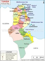 map of tunisia with cities about tunisia