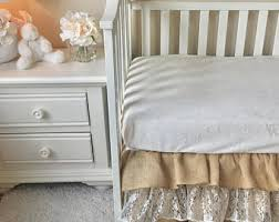 burlap crib skirt etsy
