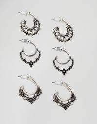 grunge earrings new look new look 3 pack grunge hoop earrings